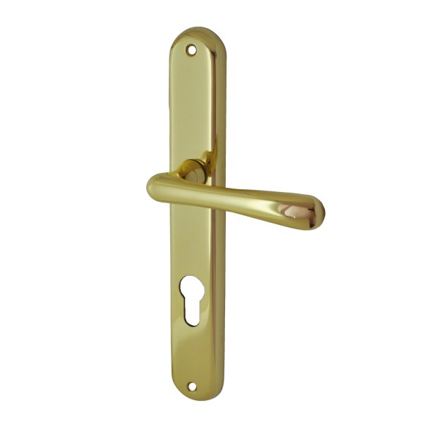 Zimmertürgarnitur in Messing glänzend mit Schutzlack (PZ). Dist. 72 mm, 240x37 mm Bild1