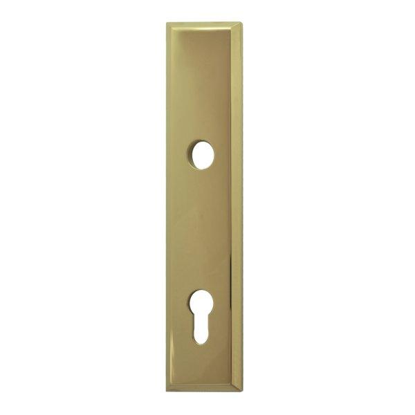 Sicherheitstürschild (PZ) Dist. 92 mm  Messing glänzend mit Schutzlack Außen L x B:240 x 50 mm . Bauhaus Bild1