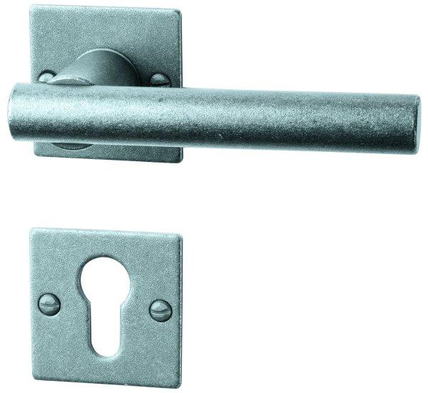 Rosettengarnitur in Eisen thermopatiniert ®(PZ). Rosette: 52x52 mm, Griff: 125 mm Bild1