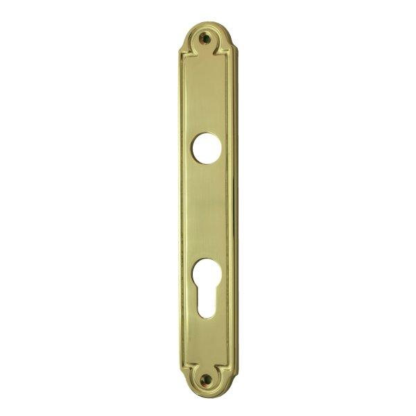 Wohnungseingangstürschild in Messing glänzend mit Schutzlack, Dist.72 mm PZ, L xB :220x35mm .Gründerzeit Bild1