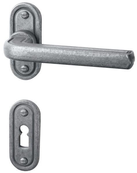 Rosettengarnitur Eisen thermopatiniert ®, BB, Dist. variabel L x B: 73 mm x 30 mm der Serie TG054 Bild1