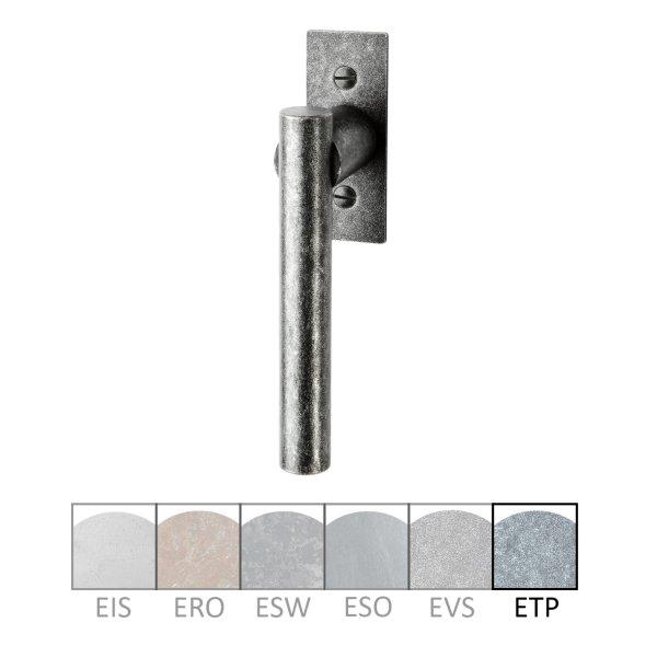 Fenstergriff auf Rosette Nr.: 505-R Eisen thermopatiniert L: 82 mm der Serie FG051 Bild1