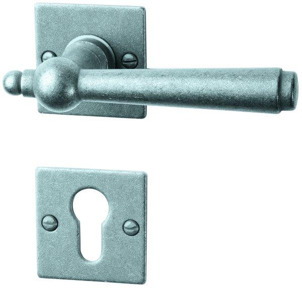 Rosettengarnitur Eisen thermopatiniert ®, PZ, Dist. variabel L x B: 52 mm x 52 mm der Serie TG052 Bild1