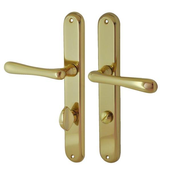 Badezimmertürschild Garnitur in Messing glänzend mit Schutzlack . Modell Linz Bild1