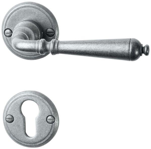 Rosettengarnitur in Eisen thermopatiniert ® (PZ). Rosette: 53 mm, Griff: 140 mm Bild1
