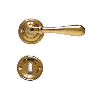 Rosettengarnitur in Messing (BB). Rosette: 50 mm, Griff: 115 mm Bild1