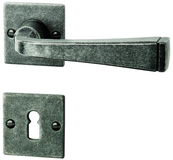 Zimmertürgarnitur schwarz passiviert, BB, 72 mm L x B: 237 mm x 38 mm der Serie TG055 Bild1