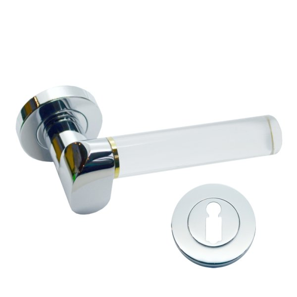 Rosettengarnitur für Zimmertüren in Messing verchromt mit Schutzlack BB1, modell Nika Bild1