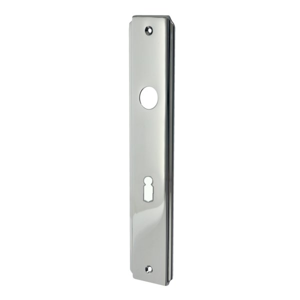 Zimmertürschild Dist. 72 mm BB, Messing vernickelt mit Schutzlack. Seitliche Rille.  Bild1