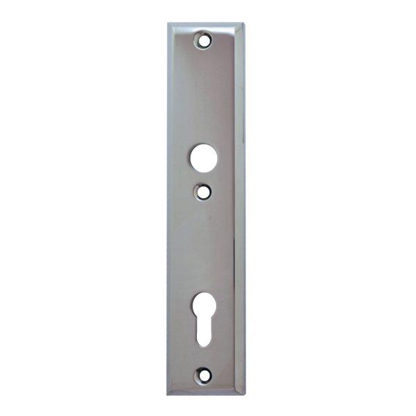 Sicherheitstürschild (PZ) Dist. 92 mm  Messing verchromt mit Schutzlack Innen L x B:240 x 50 mm . Bauhaus Bild1