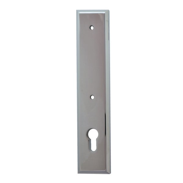 Sicherheitstürschild für stoß Griffloch (PZ) Dist. 92 mm  Messing verchromt mit Schutzlack Außen L x B:240 x 50 mm . Bauhaus Bild1