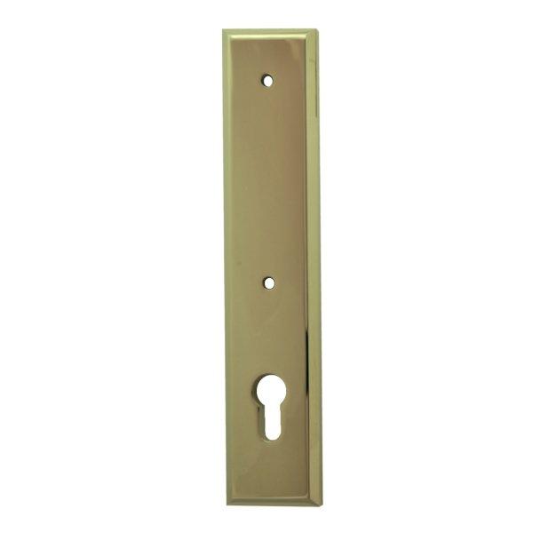 Sicherheitstürschild für stoß Griffloch (PZ) Dist. 92 mm  Messing glänzend mit Schutzlack Außen L x B:240 x 50 mm . Bauhaus Bild1