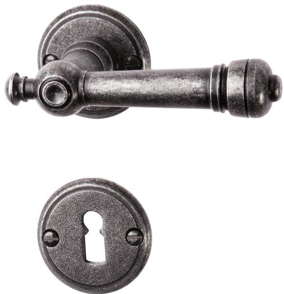 Rosettengarnitur in Eisen schwarz passiviert (BB). Rosette: 53 mm, Griff: 115 mm  Bild1