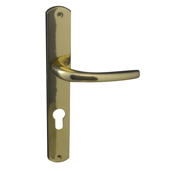 Zimmertürgarnitur in Messing glänzend mit Schutzlack (PZ). Dist. 72 mm, 247x36 mm Bild1