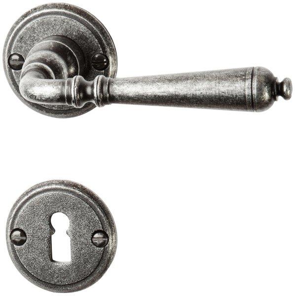 Rosettengarnitur in Eisen schwarz passiviert (BB). Rosette: 53 mm, Griff: 140 mm Bild1