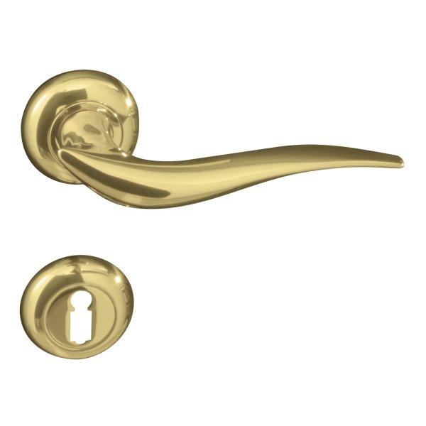 Rosettengarnitur in Messing glänzend (BB). Rosette: 48 mm, Griff: 130 mm Bild1