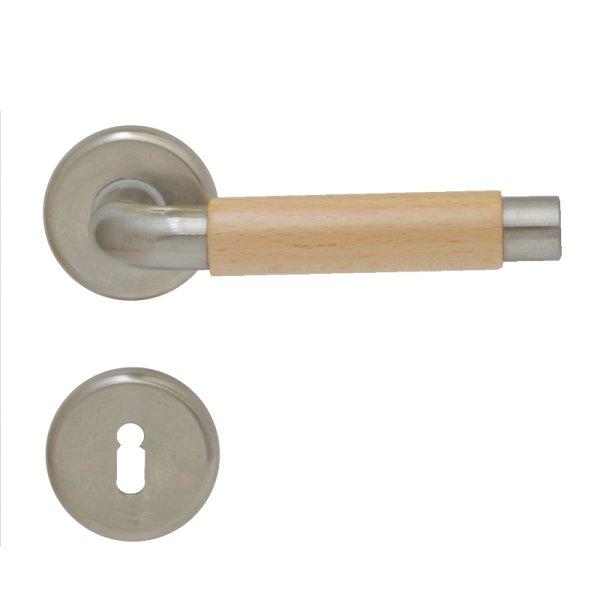 Rosettengarnitur für Zimmertüren in Messing vernickelt matt mit Schutzlack. Bild1