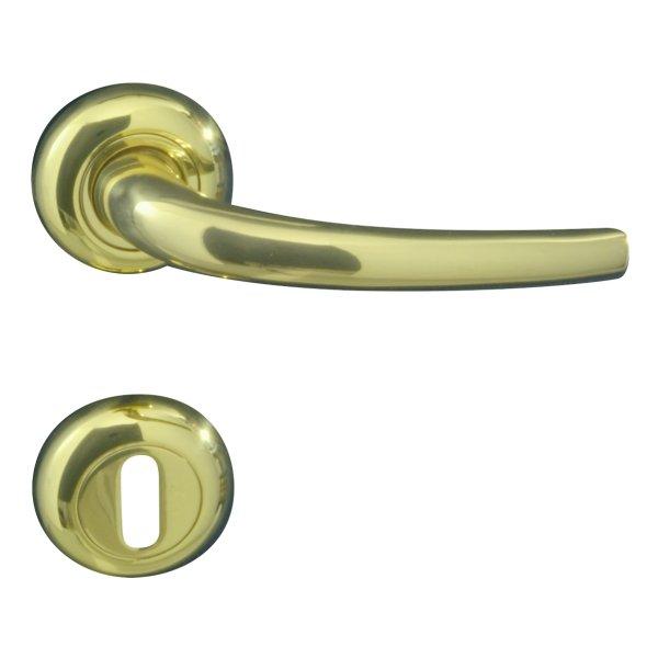 Rosettengarnitur für Zimmertüren ,BB2, in Messing glänzend mit Schutzlack. Modell Romina . Bild1