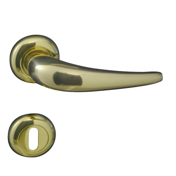 Rosettengarnitur für Zimmertüren ,BB2, in Messing glänzend mit Schutzlack. Modell Kira Bild1