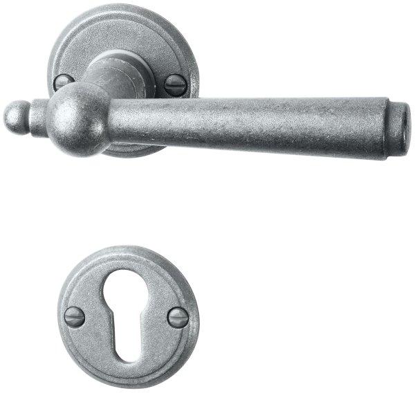 Rosettengarnitur Eisen thermopatiniert ®, PZ, Dist. variabel D: 53 mm der Serie TG052 Bild1