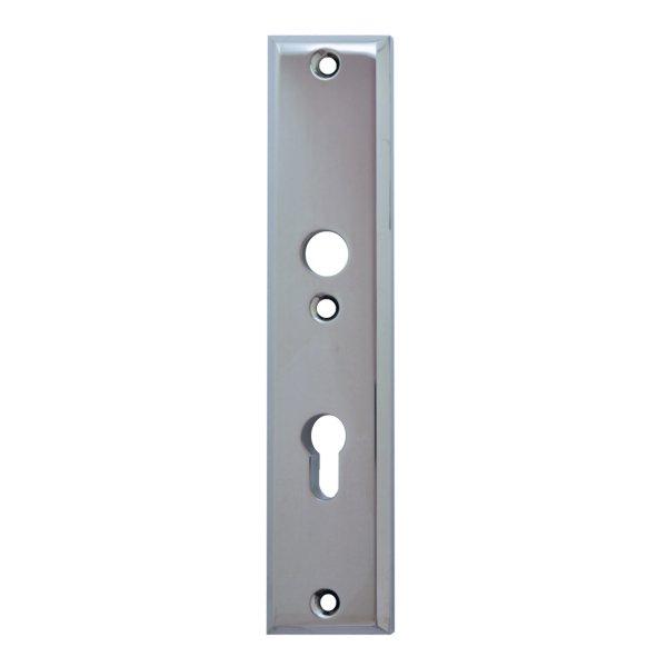 Sicherheitstürschild (PZ) Dist. 72 mm  Messing verchromt mit Schutzlack Innen L x B:240 x 50 mm . Bauhaus Bild1
