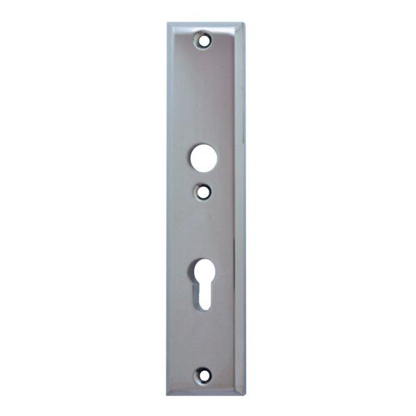 Sicherheitstürschild (PZ) Dist. 72 mm  Messing verchromt matt mit Schutzlack Innen L x B:240 x 50 mm . Bauhaus Bild1
