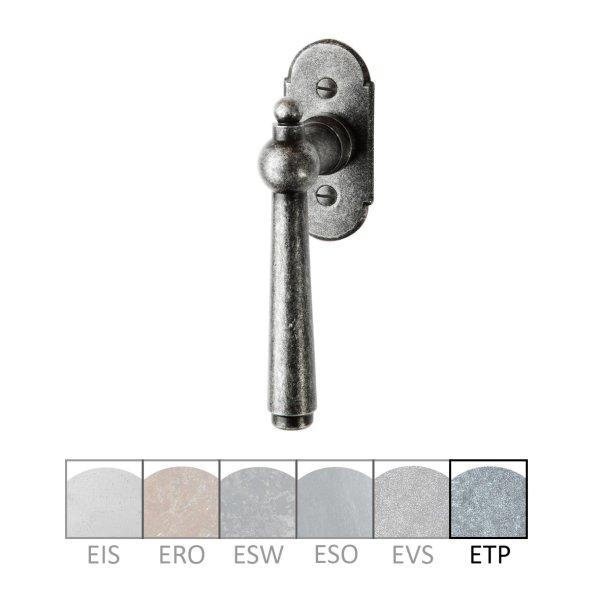 Fenstergriff auf Rosette Nr.: 501-R Eisen thermopatiniert L: 100 mm der Serie FG052 Bild1