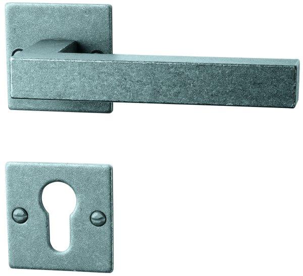 Rosettengarnitur Eisen thermopatiniert ®, PZ, Dist. variabel L x B: 52 mm x 52 mm der Serie TG050 Bild1