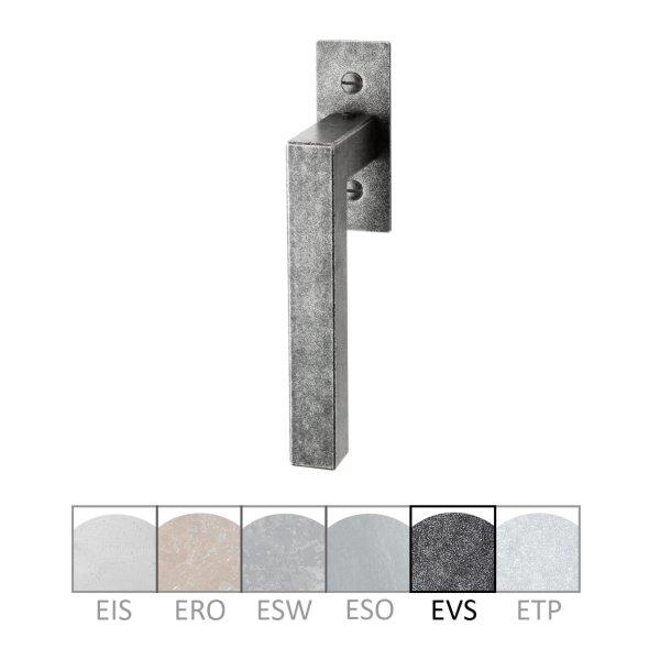 Fenstergriff auf Rosette Nr.: 505-R Eisen schwarz passiviert L: 82 mm der Serie FG050 Bild1
