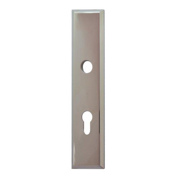 Sicherheitstürschild (PZ) Dist. 72 mm  Messing vernickelt mit Schutzlack Außen L x B:240 x 50 mm . Bauhaus Bild1