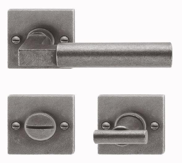 Rosettengarnitur in Eisen schwarz passiviert (WC). Rosette: 52x52 mm, Griff: 120 mm Bild1
