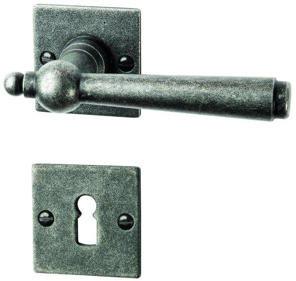 Rosettengarnitur schwarz passiviert, BB, Dist. variabel L x B: 52 mm x 52 mm der Serie TG052 Bild1