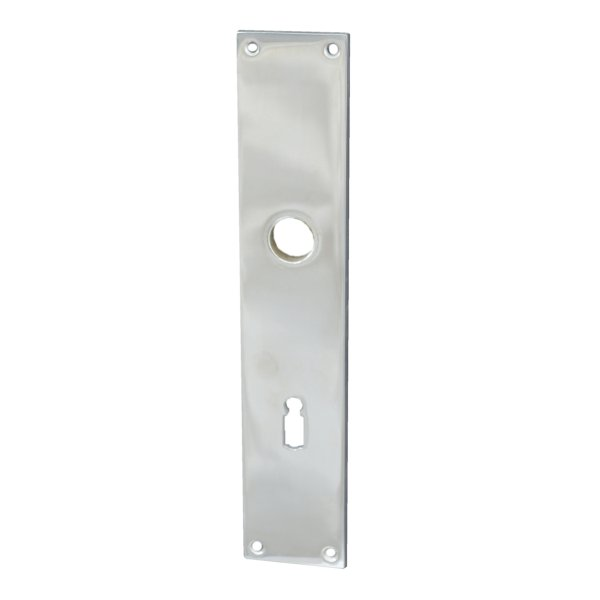 Rechteckiges Zimmertürschild Dist. 72 mm BB, Messing vernickelt matt mit Schutzlack Bild1