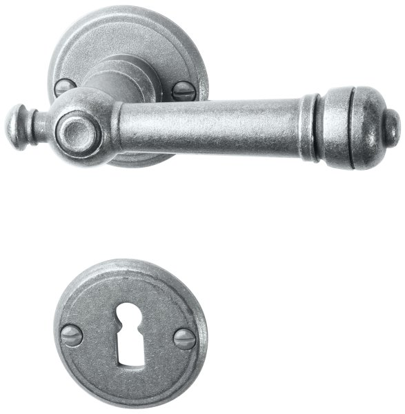 Rosettengarnitur in Eisen thermopatiniert ® (BB). Rosette: 53 mm, Griff: 115 mm  Bild1
