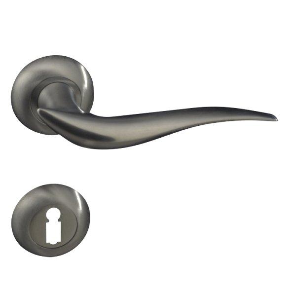 Rosettengarnitur für Zimmertüren ,BB1, Messing glänzend mit Schutzlack . Modell Vela. Bild1