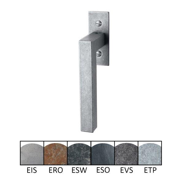 Fenstergriff auf Rosette Nr.: 505-R Eisen thermopatiniert L: 82 mm der Serie FG050 Bild1