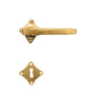 Rosettengarnitur in Messing (BB). Rosette: 55 mm, Griff: 100 mm Bild1
