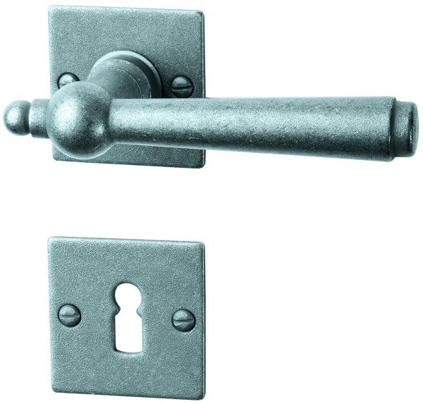 Rosettengarnitur in Eisen thermopatiniert ® (BB). Rosette: 52x52 mm, Griff: 125 mm Bild1